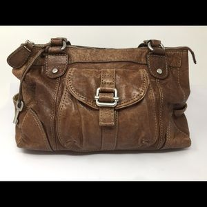 VTG FOSSIL Distressed LRG Leather Satchel Handbag